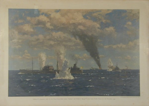 23: Norman Wilkinson Sinking of Japanese raider by Roya