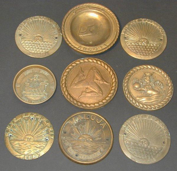 135: P&O cast brass circular plaques SS Canberra, Iberi