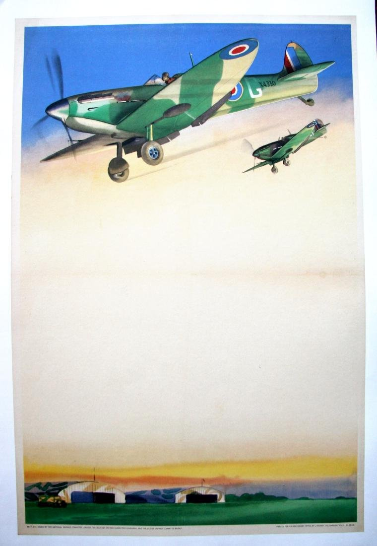 National Savings Spitfires over aerodrome, WW2 poster