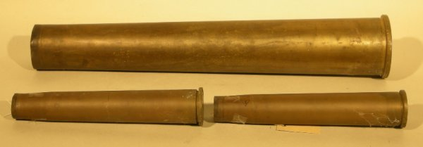 1: Brass shell cases 40mm and 80mm, dated 1955 (3)