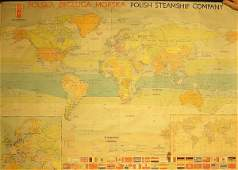 477 Polish Steam Ship Company world route map mounted