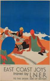 Tom Purvis (1888-1959) EAST COAST JOYS , Travel by LNER