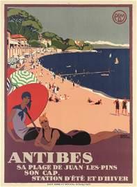 Roger Broders (1883-1953) Antibes sa Plage de Juan -Les