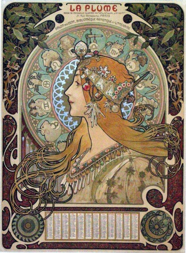 175: Alphonse Mucha (1860-1939) Zodiac La Plume 1898, o