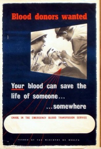 9: Blood Donors Wanted, printed by Rord Shapland Ltd -