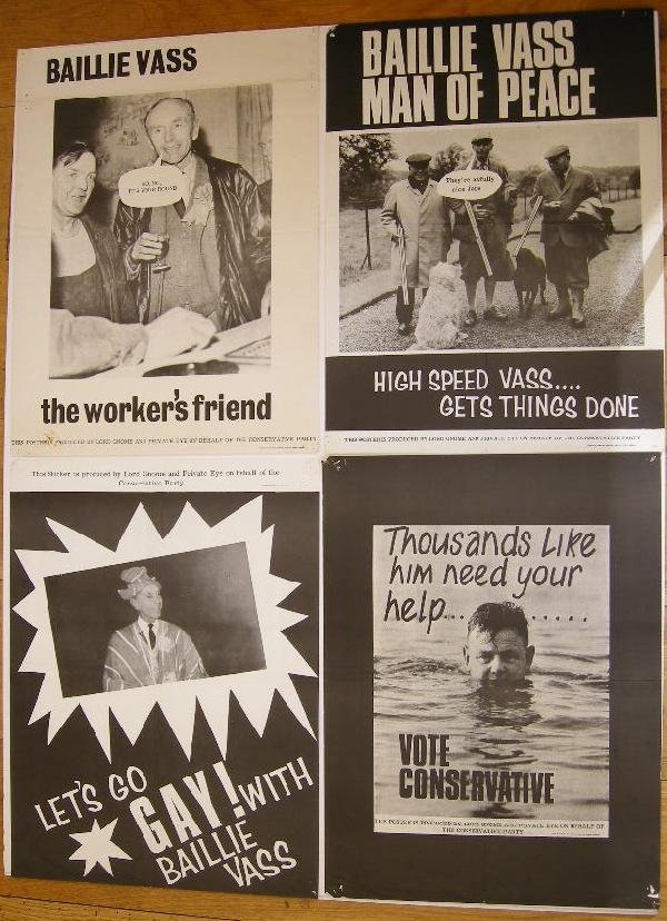 4: Private Eye, Baillie Vass four satirical  posters sp