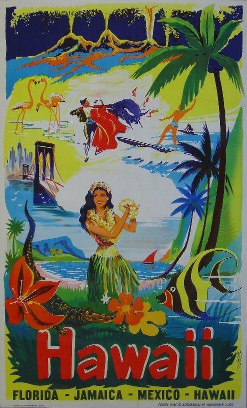 91: Borge Larsen Hawaii, original film poster  printed