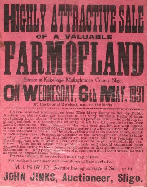 9: Poster advertising Auction sale of land in County Sl
