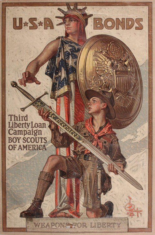 419: Leyendecker USA Bonds 1918, original WW1 poster pr