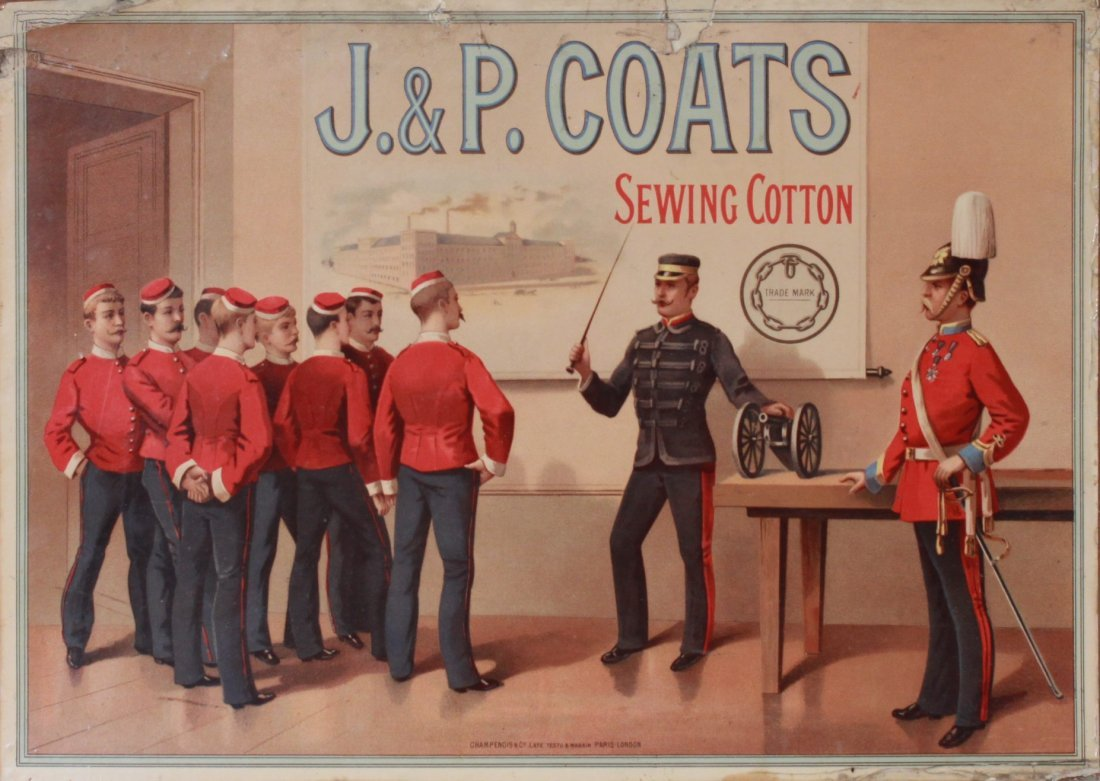 15: Late 19th Century Showcard - J & P Coats Sewing Cot