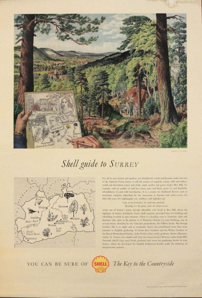 S R Badmin (Stanley Roy 1906-1989) Shell Guide to Surre