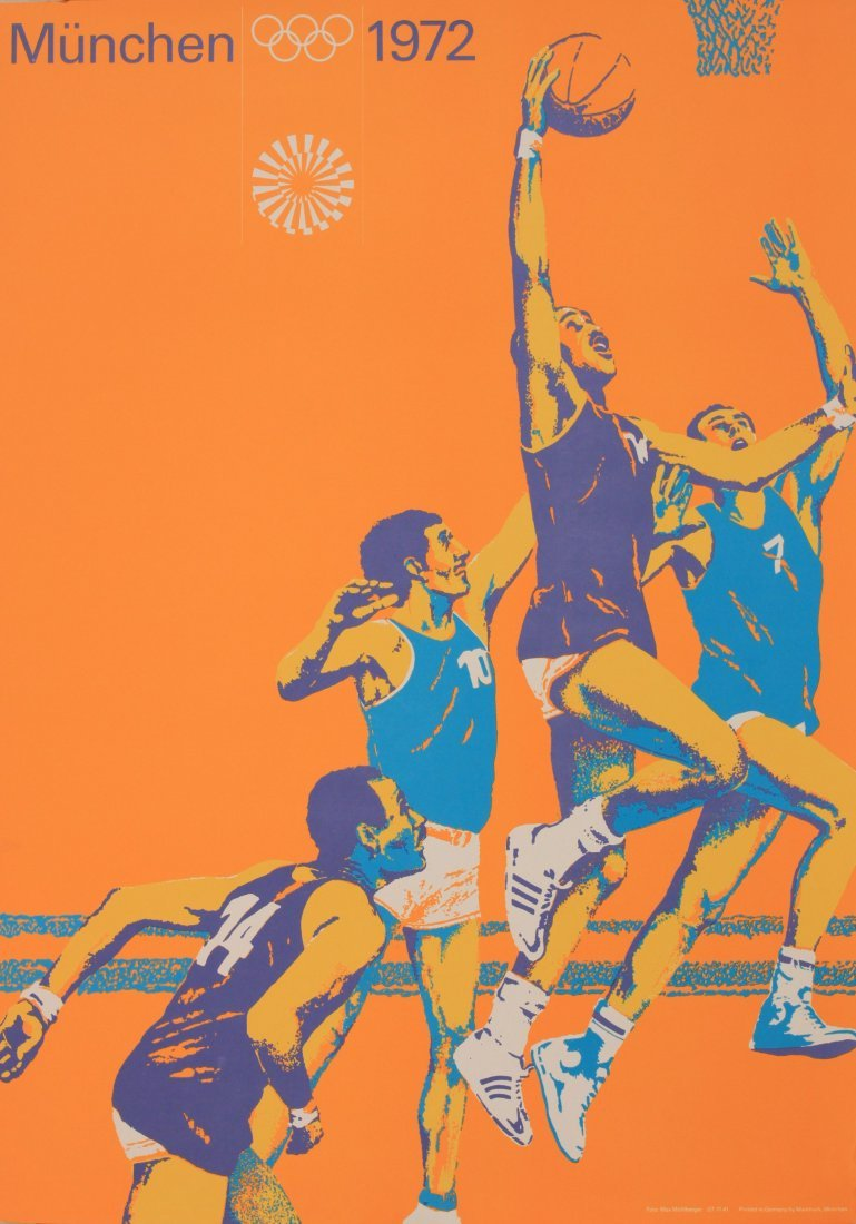 Olympics Munchen 1972, Basket Ball, photographic poster