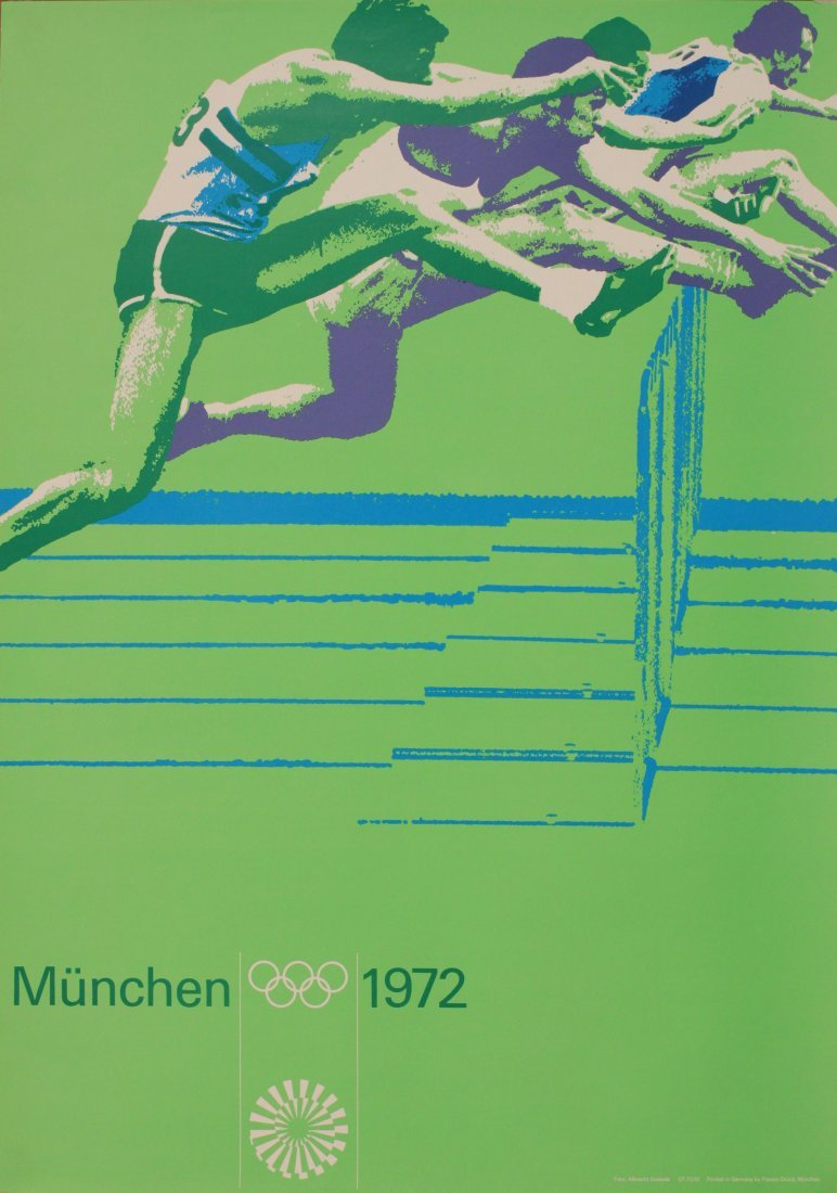Olympics Munchen 1972, Hurdles, photographic poster by
