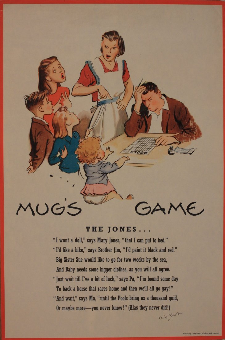 Mays and Odell, Mug's Game, four anti gambling posters,