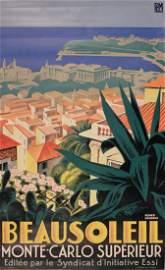 Roger Broders Beausoleil Monte-Carlo Superieur, printed