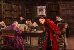 "JOSE GALLEGOS Y ARNOSA ""Clergymen in the bookstore"""