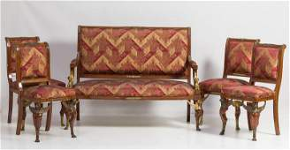 19th century Empire style tripod, sofa with 4 chairs.
