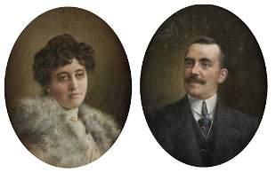 "MAXIMINO PEÃ'A MUÃ'OZ 1863 / 1940 ""Couple of portraits"""