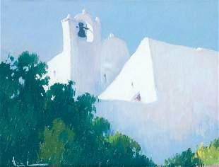 """AMADOR VIÃ'OLAS 1915 / . """"Church of Ibiza"""""""