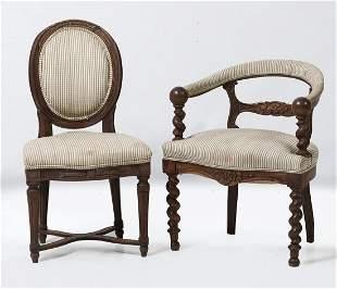 Louis XVI chair 19th century, walnut wood