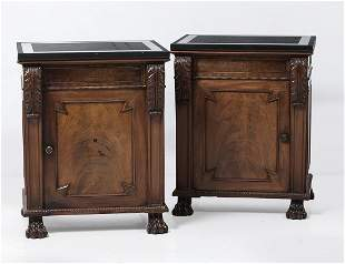 Pair of palm wood sideboards
