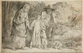 """REMBRANDT HARMENSZ VAN RYJN 1606 / 1699 """"Jesus, between"""