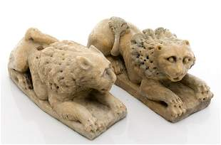 Couple of marble lions