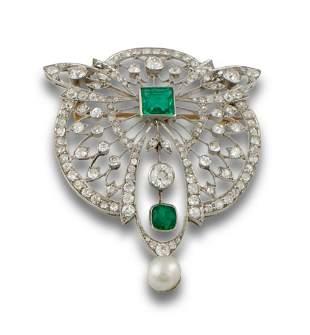 BROOCH BELLE EPORQUE GOLD EMERALD DIAMONDS 15
