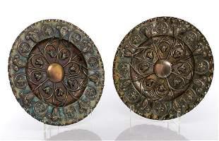 Two silver decorative plates