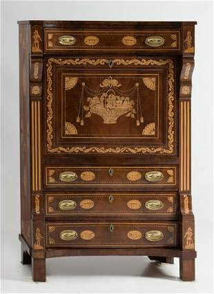 English writing desk in marquetry XIXth century