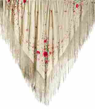 Embroiofred silk shawl with coloured flowers