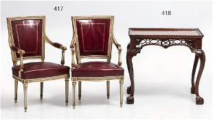 Pair of Louis XVI style red leather chairs