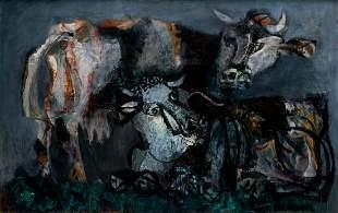 "ANTONI CLAVE (1913 / 2005) ""Two cows""."