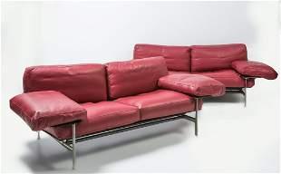 Pair of two-seater leather sofas of Antoni Cittero