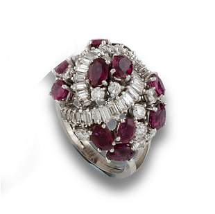 GOLD RING DIAMONDS RUBIES
