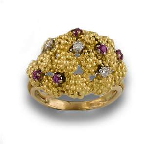 BAROQUE GOLD RING DIAMONDS RUBIES