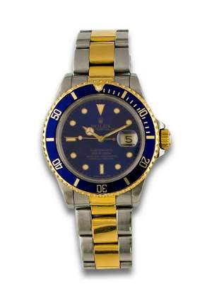 ROLEX OYSTER PERPERTUAL SUBMARINER STEEL GOLD WATCH