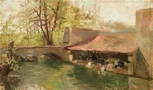 """FELIX RESURRECION HIDALGO (1857 / 1913) """"Landscape with"""
