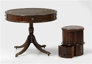 Library table with leather top