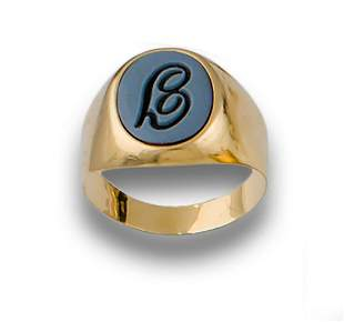 GOLD INITIAL AGATE SIGNET RING