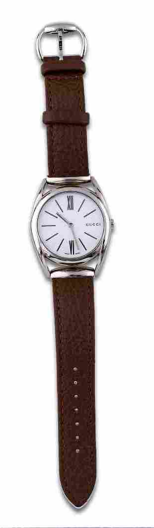 Gucci, stainless steel watch with leather strap