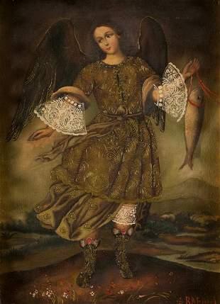 "COLONIAL SCHOOL (S. XIX / XX) ""Archangel Saint Raphael"""