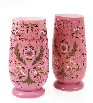 Pair of pink opaline vases