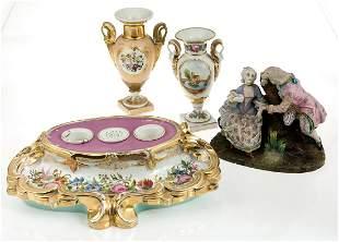 Gallant couple porcelain group