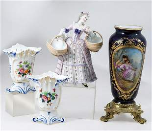"""""""Lady with baskets"""", Porcelain group"""