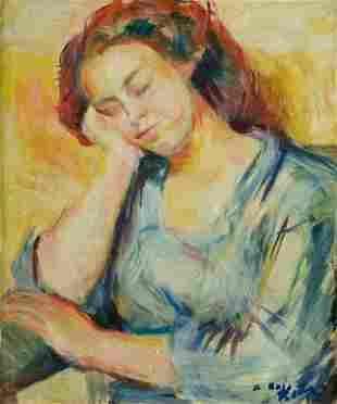 """JUAN ANTONIO RODA (1921 / 2003) """"Sleepy young woman."""""""