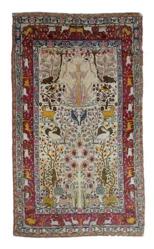 Isphasan Silk and Wool Prayer Rug