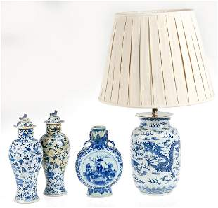 Chinese porcelain library lamp