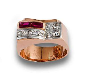 Ring Chevalier rose gold diamond and rubies