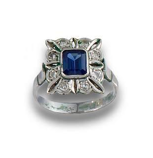 ART DECO DIAMOND SAPPHIRE RING 85